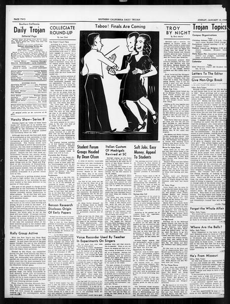 Daily Trojan, Vol. 31, No. 73, January 15, 1940