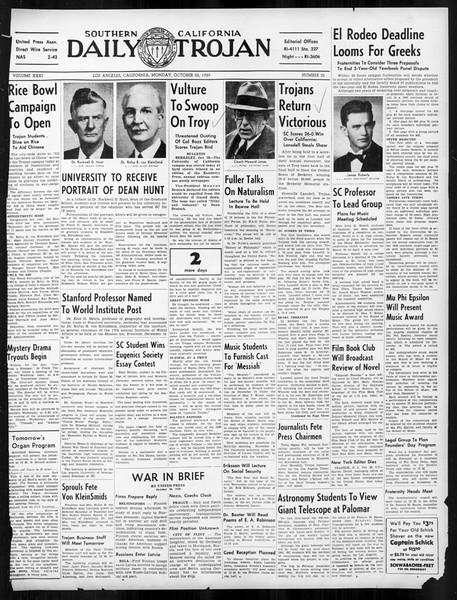 Daily Trojan, Vol. 31, No. 32, October 30, 1939
