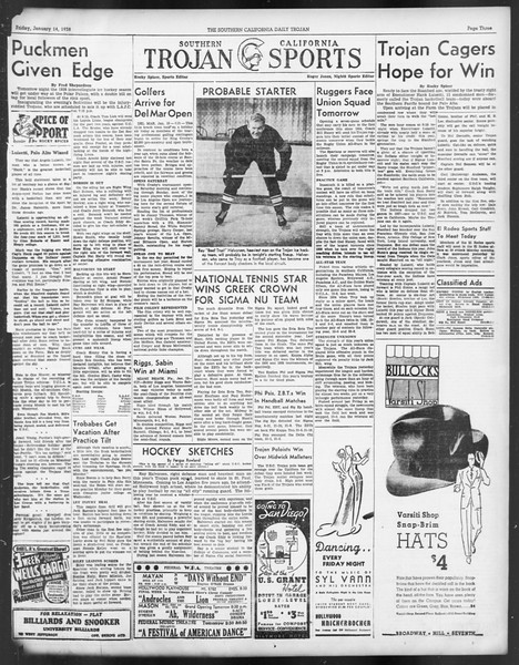 Daily Trojan, Vol. 29, No. 67, January 14, 1938