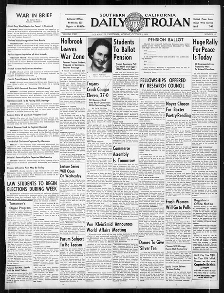 Daily Trojan, Vol. 31, No. 17, October 09, 1939