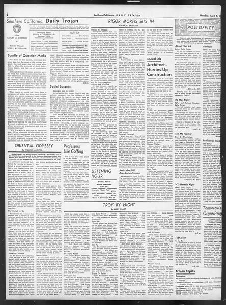 Daily Trojan, Vol. 32, No. 117, April 07, 1941