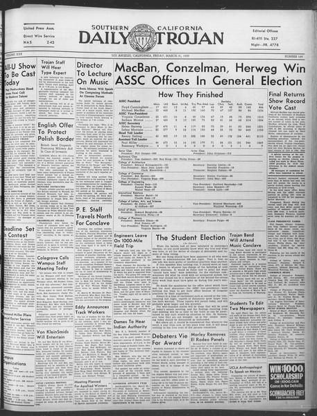 Daily Trojan, Vol. 30, No. 110, March 31, 1939