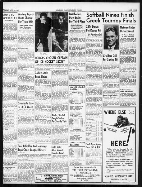 Daily Trojan, Vol. 31, No. 134, April 30, 1940