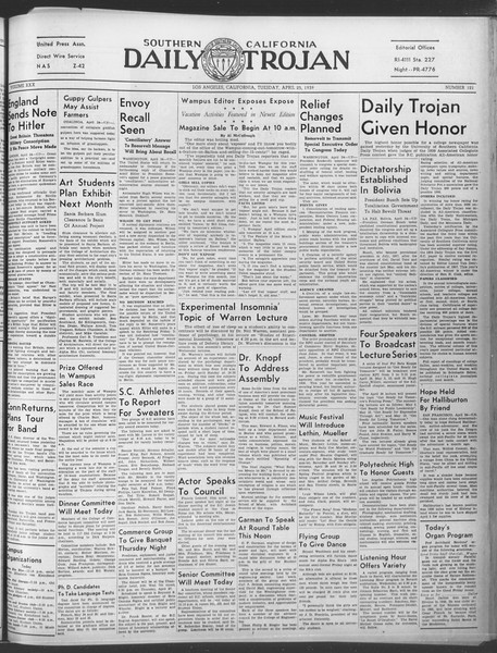 Daily Trojan, Vol. 30, No. 122, April 25, 1939