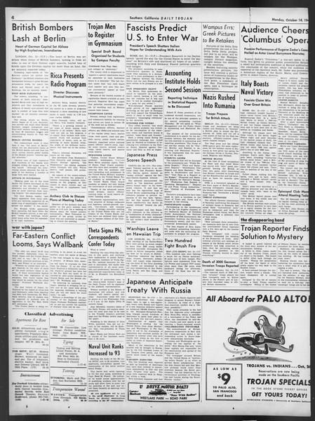 Daily Trojan, Vol. 32, No. 22, October 14, 1940