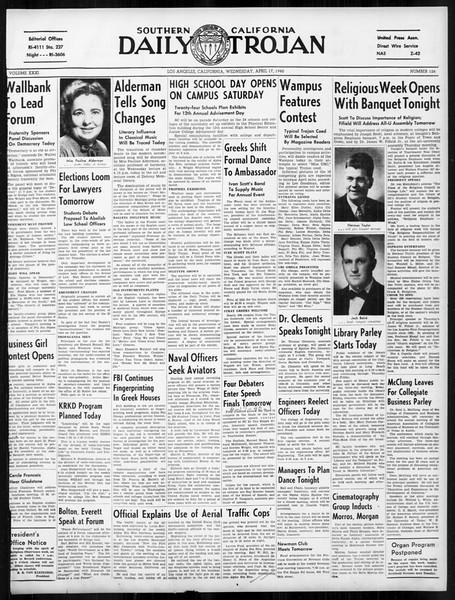 Daily Trojan, Vol. 31, No. 126, April 17, 1940