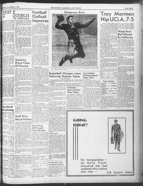Daily Trojan, Vol. 30, No. 45, November 21, 1938
