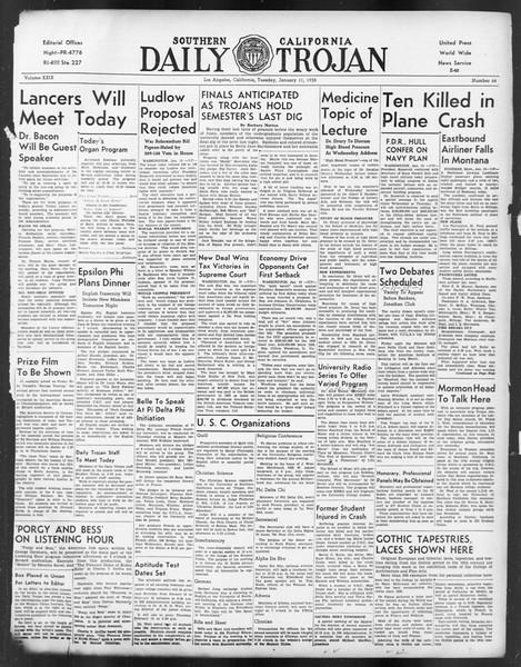 Daily Trojan, Vol. 29, No. 64, January 11, 1938