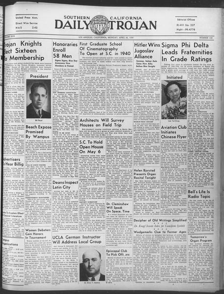 Daily Trojan, Vol. 30, No. 121, April 24, 1939