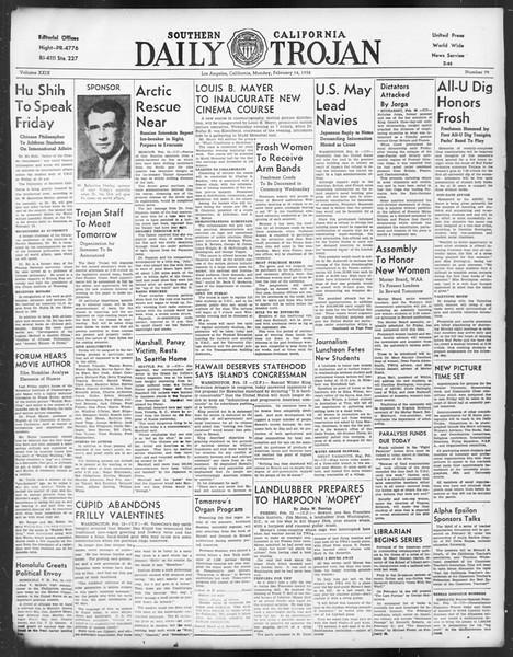 Daily Trojan, Vol. 29, No. 79, February 14, 1938