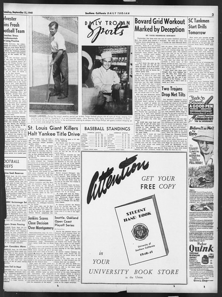 Daily Trojan, Vol. 32, No. 3, September 17, 1940