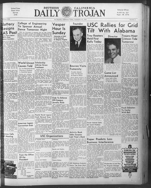 Daily Trojan, Vol. 30, No. 5, September 23, 1938