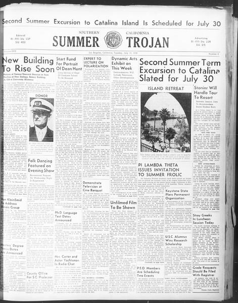 Summer Trojan, Vol. 17, No. 8, July 19, 1938