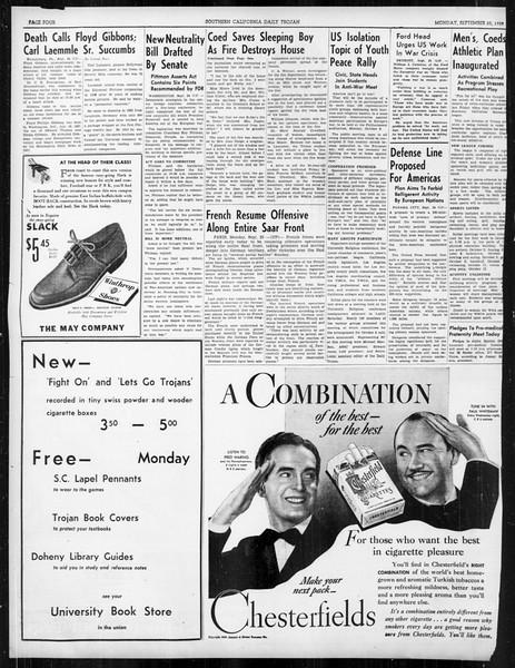 Daily Trojan, Vol. 31, No. 7, September 25, 1939