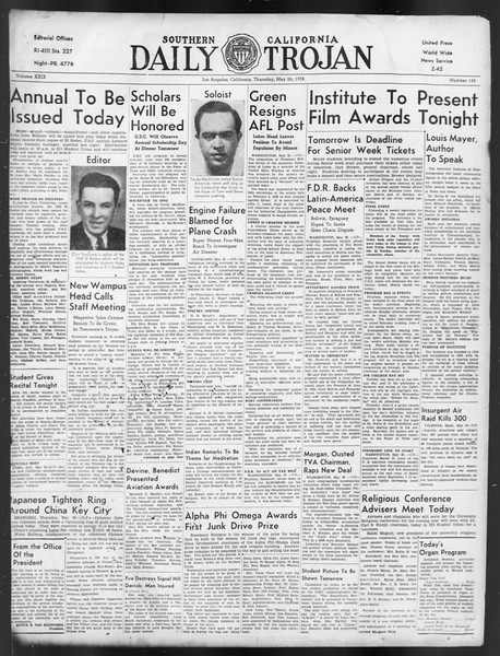 Daily Trojan, Vol. 29, No. 145, May 26, 1938