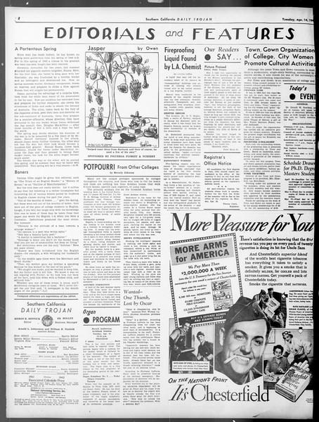 Daily Trojan, Vol. 33, No. 106, April 14, 1942