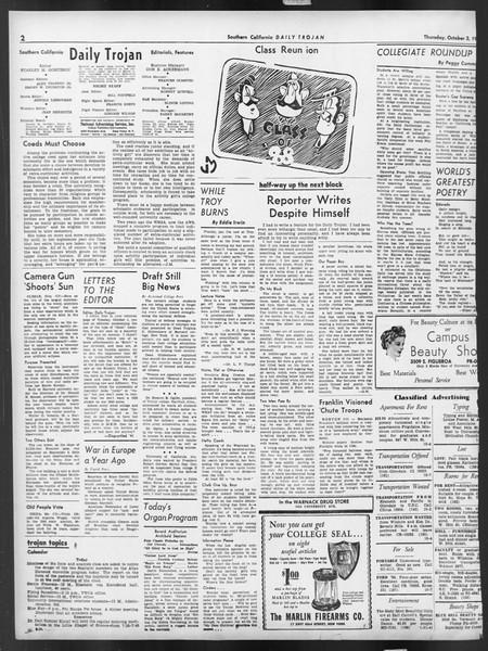 Daily Trojan, Vol. 32, No. 15, October 03, 1940