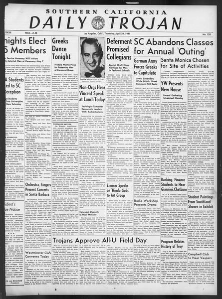 Daily Trojan, Vol. 32, No. 128, April 24, 1941