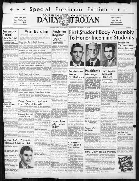 Daily Trojan, Vol. 31, No. 1, September 13, 1939