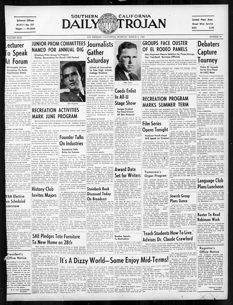 Daily Trojan, Vol. 31, No. 96, March 04, 1940