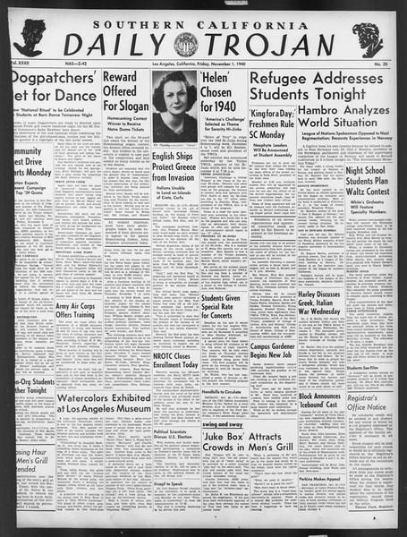 Daily Trojan, Vol. 32, No. 35, November 01, 1940