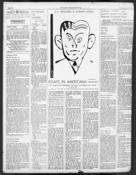 Daily Trojan, Vol. 29, No. 118, April 19, 1938