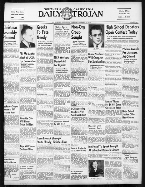 Daily Trojan, Vol. 31, No. 62, December 14, 1939