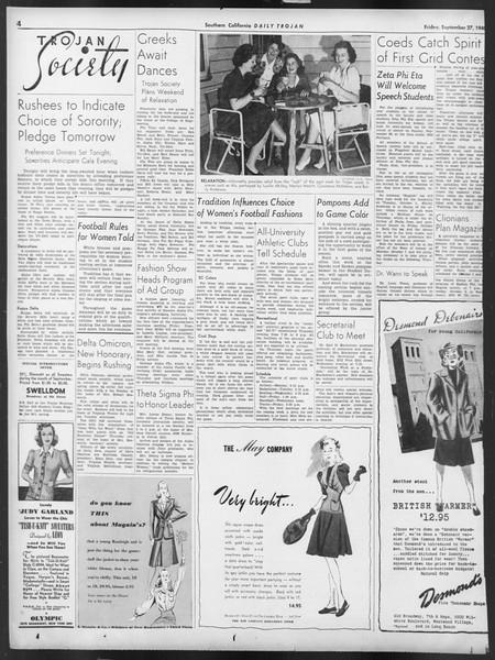Daily Trojan, Vol. 32, No. 11, September 27, 1940