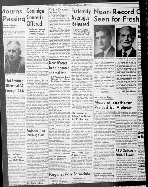 Daily Trojan, Vol. 33, No. 12, September 17, 1941