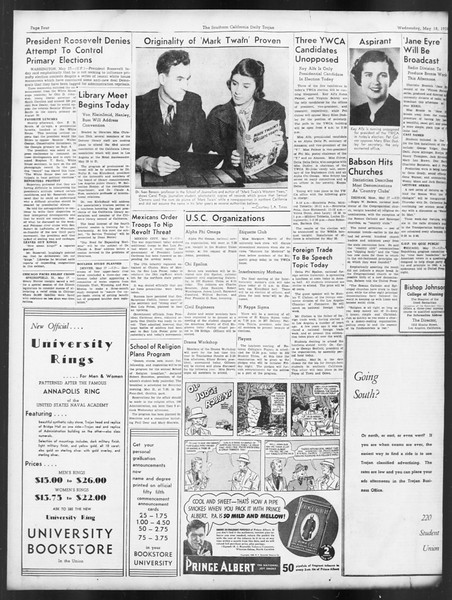 Daily Trojan, Vol. 29, No. 139, May 18, 1938