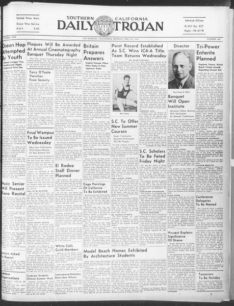 Daily Trojan, Vol. 30, No. 146, May 29, 1939