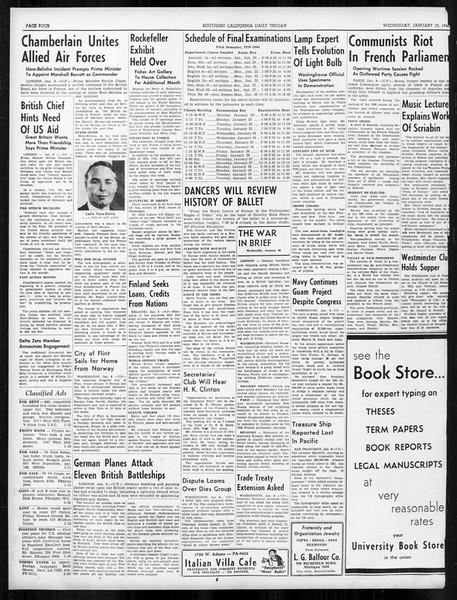 Daily Trojan, Vol. 31, No. 70, January 10, 1940