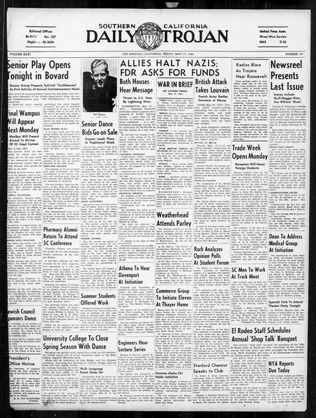 Daily Trojan, Vol. 31, No. 147, May 17, 1940