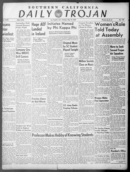 Daily Trojan, Vol. 33, No. 145, May 19, 1942