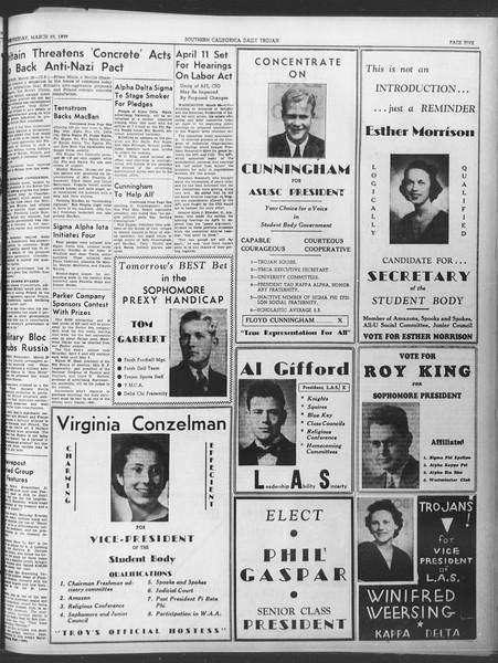 Daily Trojan, Vol. 30, No. 108, March 29, 1939