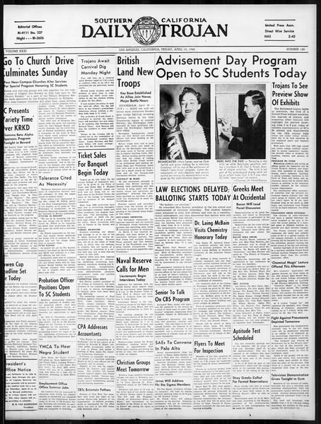 Daily Trojan, Vol. 31, No. 128, April 19, 1940