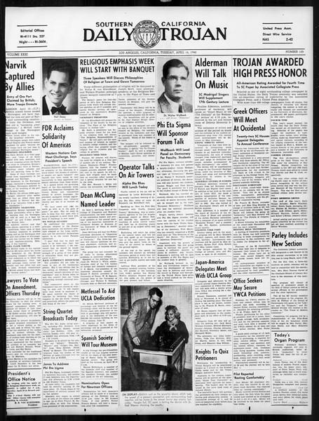 Daily Trojan, Vol. 31, No. 125, April 16, 1940