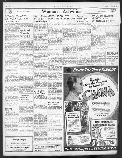 Daily Trojan, Vol. 29, No. 98, March 15, 1938