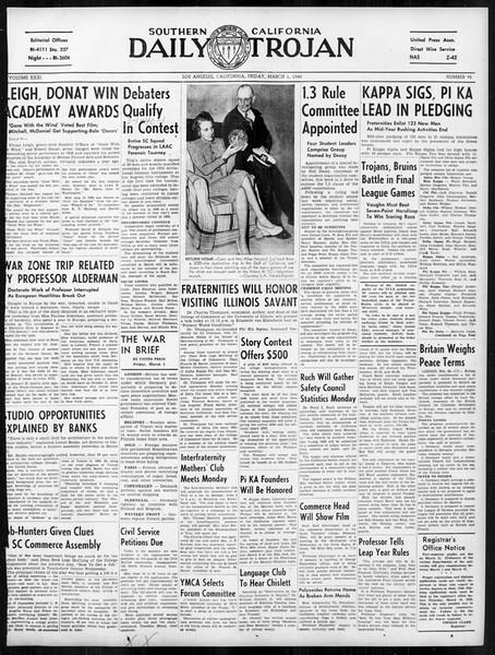 Daily Trojan, Vol. 31, No. 95, March 01, 1940