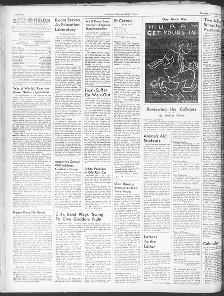 Daily Trojan, Vol. 30, No. 37, November 08, 1938
