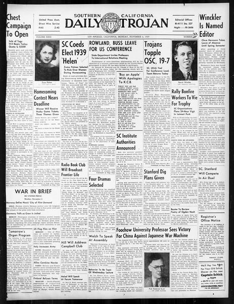 Daily Trojan, Vol. 31, No. 36, November 06, 1939