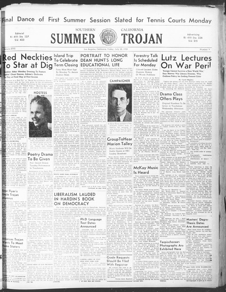 Summer Trojan, Vol. 17, No. 9, July 22, 1938