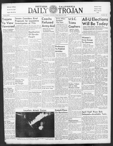 Daily Trojan, Vol. 29, No. 106, March 25, 1938