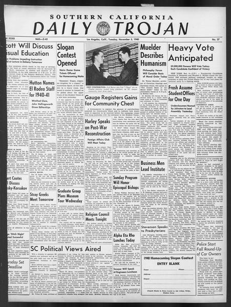 Daily Trojan, Vol. 32, No. 37, November 05, 1940
