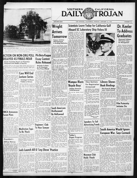 Daily Trojan, Vol. 31, No. 74, January 16, 1940