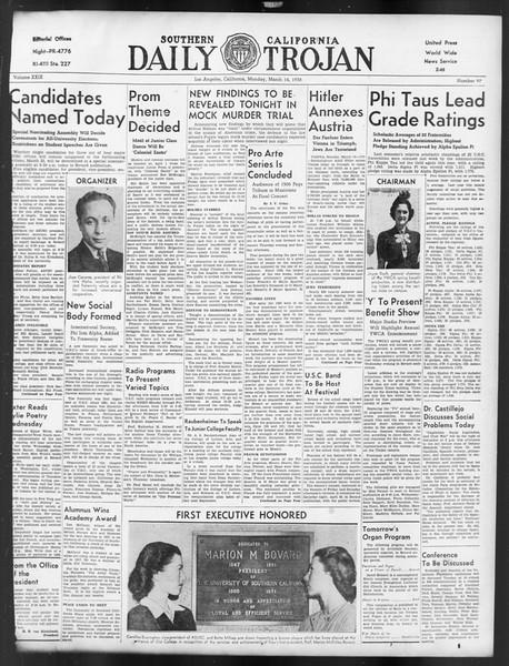 Daily Trojan, Vol. 29, No. 97, March 14, 1938