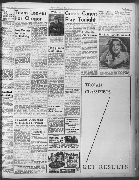 Daily Trojan, Vol. 30, No. 29, October 27, 1938