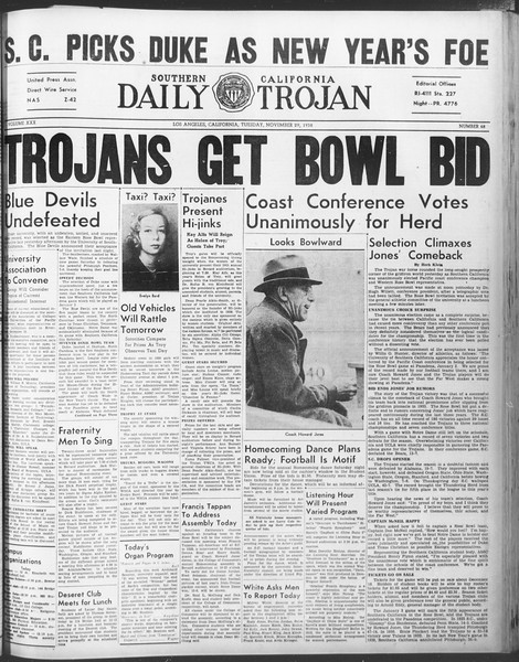 Daily Trojan, Vol. 30, No. 49, November 29, 1938