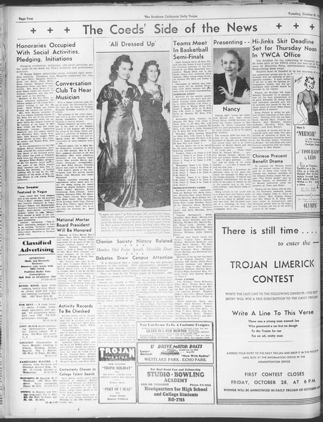 Daily Trojan, Vol. 30, No. 28, October 25, 1938