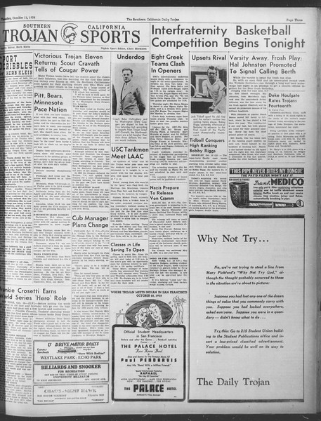 Daily Trojan, Vol. 30, No. 17, October 11, 1938